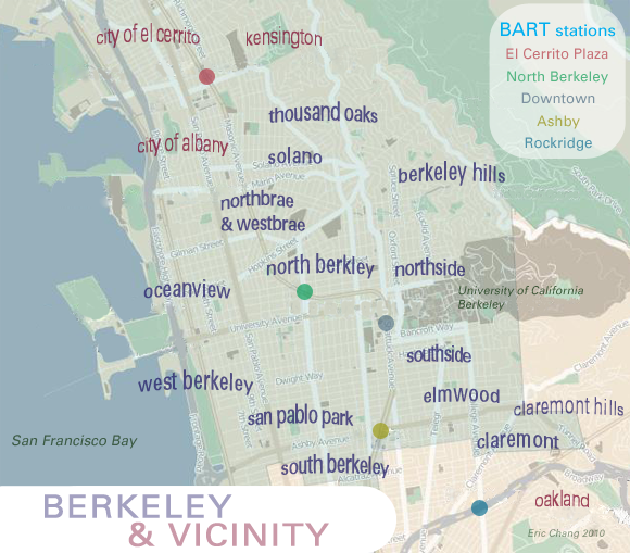 map of Berkeley neighborhoods & vicinity