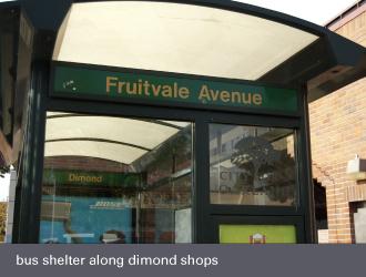dimond laurel district oakland - bus shelter macarthur boulevard and fruitvale avenue