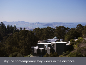 montclair oakland homes - contemporary home, bay views in the distance