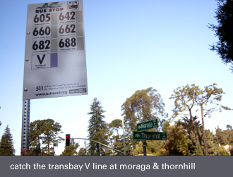 montclair bus stop, ac transit transbay line v