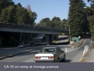 ca-13 freeway on ramp at moraga avenue, montclair oakland